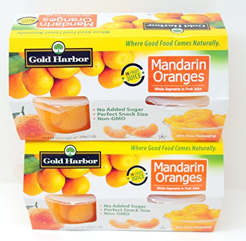 Gold Harbor Mandarin Whole Oranges Segments In Fruit Juice 8 (4 oz.) Cups - Snack Size & Small Storage Space Friendly!
