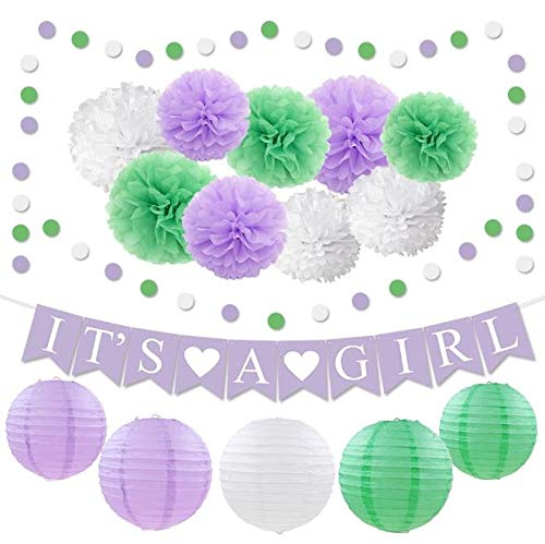 Girl Baby Shower Decorations Kit Purple Lavender Lilac