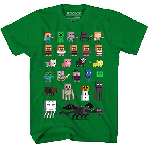 JINX Minecraft Big Boys' Sprites T-Shirt (Kelly Green, Medium) (Sprite Green)