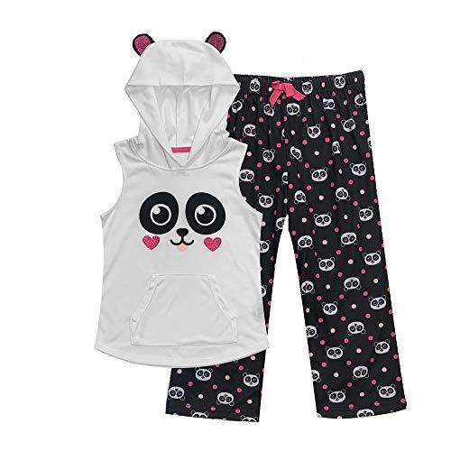 Popular Girl's Hooded Sleeveless Top and Bottoms - Capri Set - Panda - 7/8]()