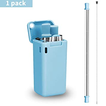 Collapsible Straw Reusable Stainless Steel Drinking straw Portable foldable  Metal Straws with Hard Case and Cleaning Brush(Blue)
