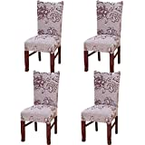 JMYDecor 4 x Soft Spandex Fit Stretch Short Dining Room Chair Covers with Printed Pattern, Banquet Chair Seat Protector Slipcover for Home Party Hotel Wedding Ceremony