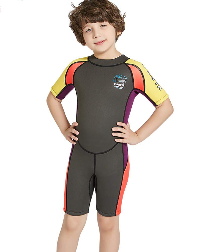 Daoba Jungen M/ädchen Kinder Neoprenanzug 2.5MM Neopren Kurzarm W/äremehaltung UV-Schutz Tauchanzug Badeanzug f/ür Wassersport