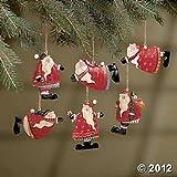 Set of 12 Painted Tin Santa Folk Decoration Christmas Ornaments