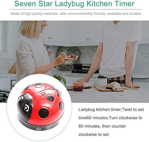 Temporizador de Uso General Cocina 60 Minutos Cocina Mec/ánica Decoraci/ón del hogar Cute Cartoon Pear Ladybird Kitchen Decoration Color
