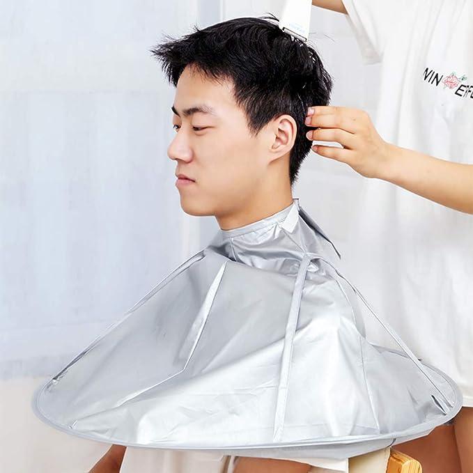 GUOQY-capa del peluquero, capa del peluquero, paraguas del traje, delantal de nylon del peluquero del pelo del salón del pelo del mantón (plata): Amazon.es: ...