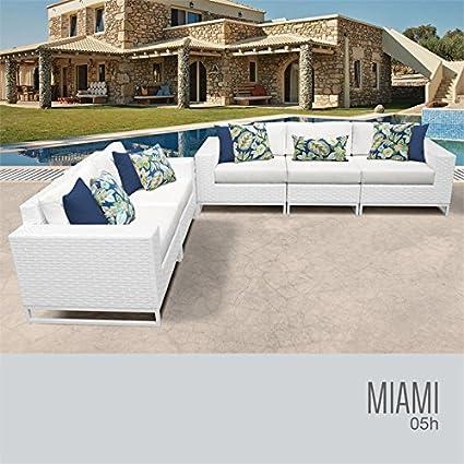 Amazon.com: TKC Miami 5 piezas Conjunto de sofá de mimbre de ...