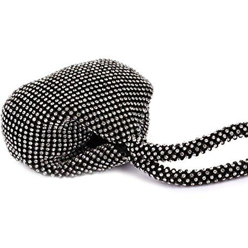 pochette de Flada de and bal pour strass fête la de pochette sac Ladies Noir d'embrayage soirée Argent mariage main à Girl's Z4ZqA8rS