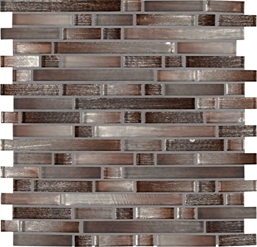 MS International GLSIL-AKACOP8MM Akaya Copper Interlocking 12 in. x 11.75 in. x 8 mm Glass Mesh-Mounted Tile, (9.8 sq. ft./case), (Copper Mosaic Flooring)