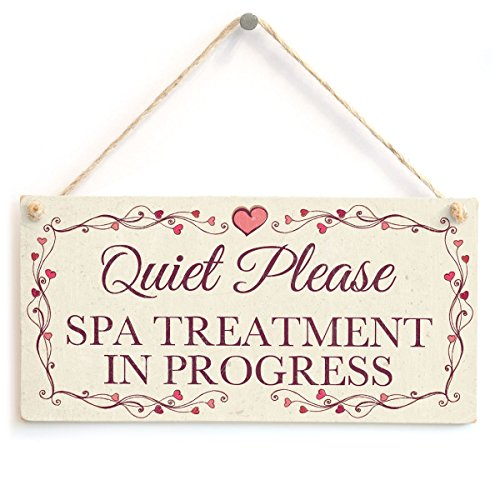 Meijiafei Quiet Please Spa Treatment In Progress - Pretty Love Heart Frame Design Sign/Plaque 10''x5'' by Meijiafei