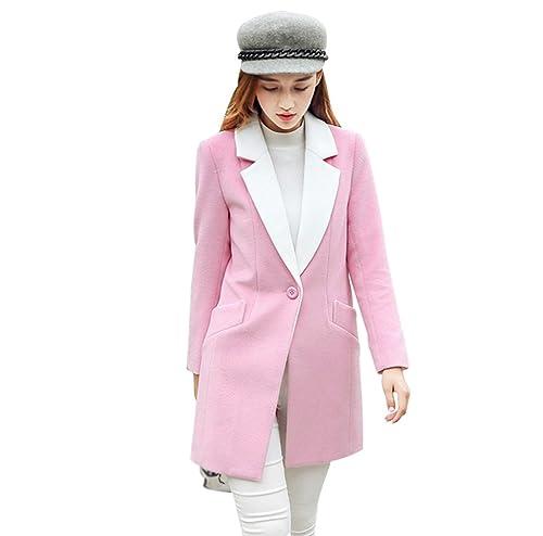 YAANCUN Mujer 2017 Otoño E Invierno Diseño De Dos Colores Sección Larga Noble Abrigo De Lana