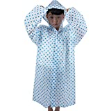 Jannyshop Kids Raincoat Thicker Transparent Cartoon Kids Rain Poncho Lightweight Raincoat for Children Aged 5-12 (Blue)