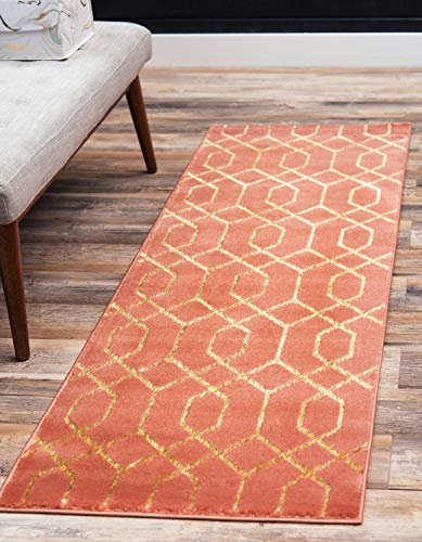 Unique Loom Marilyn Monroe Glam Collection Textured Geometric Trellis Coral Gold Runner Rug (2' 0 x 6' 0)