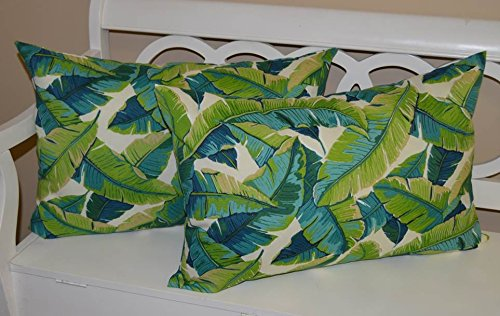 Set of 2 - Indoor / Outdoor Jumbo, Large, Over-sized, Rectangle / Lumbar Chaise Lounge Decorative Throw / Toss Pillows - Blue and Green Tropical Palm Leaf Floral - Jumbo Leaf