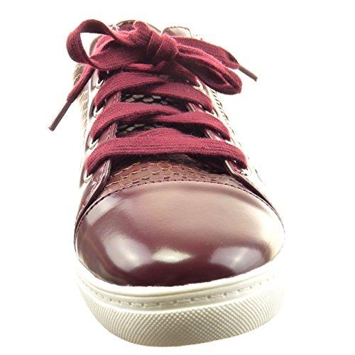 Sopily Chaussure Mode Baskets Slip-On Cheville Femmes Peau de Serpent Fermeture Zip Verni Talon Bloc 2 CM - Rouge