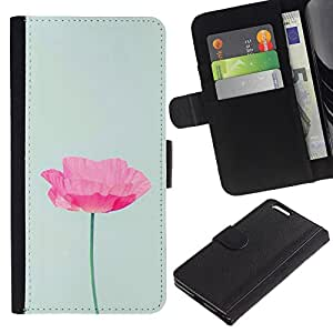 A-type (Poppy Flower Spring Pink Green Spring) Colorida Impresión Funda Cuero Monedero Caja Bolsa Cubierta Caja Piel Card Slots Para Apple (5.5 inches!!!) iPhone 6+ Plus / 6S+ Plus