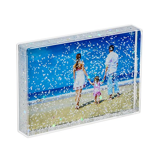 (NIUBEE 4x6 Glitter Liquid Photo Frame, Clear Plastic Acrylic Floating Sparkle Picture Frame(Snow))