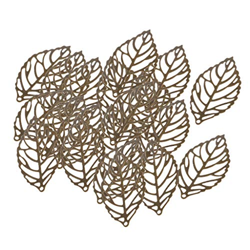 Baosity 30 Pieces Hollowed Leaf Shape Bail Charms for Earring Drops DIY Crafts Accessory Jewelry Making Findings Crafts Ornaments Metal - Bronze