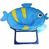 Comfortable Kids and Toddler Saucer Chair | Folding Moon Chair for Indoor and Outdoor (Fish)