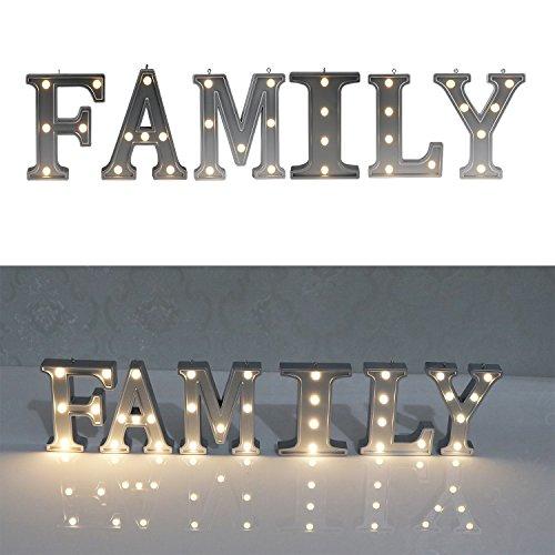 DELICORE Decorative Illuminated Family Marquee Word Sign (Silver Color 4.21