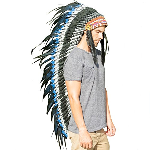 Aztec Costumes For Adults - Extra Long Feather Headdress- Native American