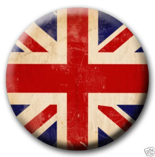 Union Jack Distressed British Flag PINBACK BUTTON 1.25