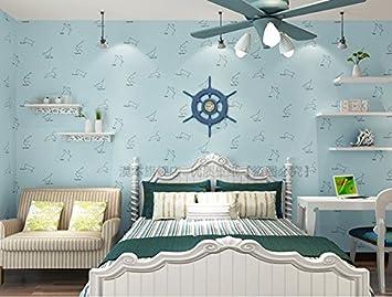 Fyios Wallpaper Blue Star Mond Himmel Vlies Tapete Kinderzimmer