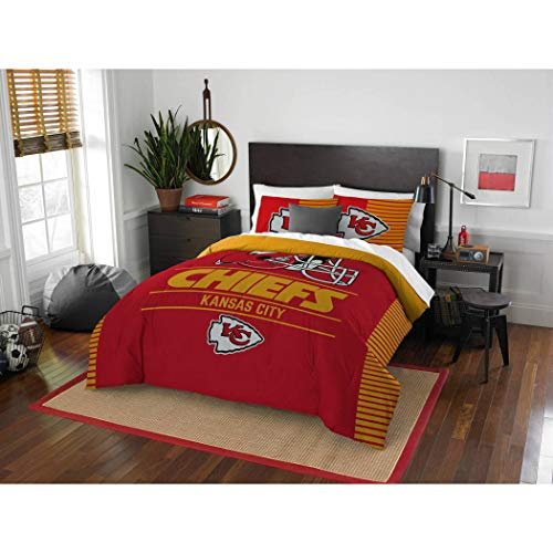 (3 Piece NFL Chiefs Comforter Full Queen Set, Red Yellow Multi Football Themed Bedding Sports Patterned, Team Logo Fan Merchandise Athletic Team Spirit Fan, Polyester, for Unisex)