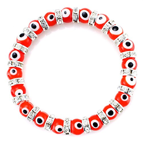 JewelrieShop Turkish Evil Eye Bracelet Murano Glass Beads Beaded Clear Crystal Spacer Bracelet for Women Girls (8mm Red Eye Beads)