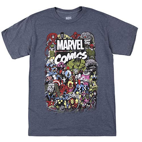 (Marvel Men's Comics Crew T-Shirt, Navy Heather,)