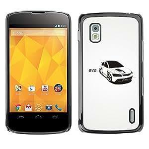 PC/Aluminum Funda Carcasa protectora para LG Google Nexus 4 E960 White Car Rally Black Windows Sexy Sleek / JUSTGO PHONE PROTECTOR