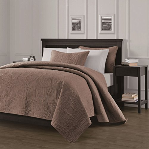 """Chezmoi Collection Austin 3-piece Oversized (118""""x106"""") Bedspread Coverlet Set King, Taupe"""