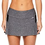 HEAD Women's Athletic Tennis Skort - Performance Training & Running Skirt - Black Heather, X-Small