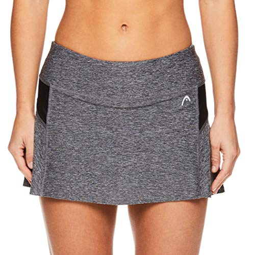 HEAD Women's Athletic Tennis Skort - Performance Training & Running Skirt - Black Heather, X-Large