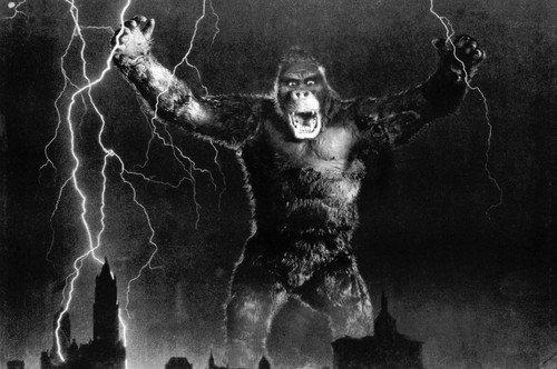 - King Kong menacing over city with lightening strikes 24x36 Poster