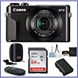 Canon PowerShot G7 X Mark II Digital Camera Pro Bundle, Includes 64GB SDXC Class 10 Memory Card, Spare Battery, SD Card Reader, Memory Card Wallet, Camera Case, Lens Cleaning Kit and Mini Tripod