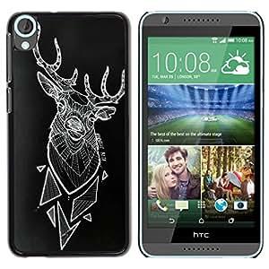 Arte ciervos Polígono Arte Negro abstracto- Metal de aluminio y de plástico duro Caja del teléfono - Negro - HTC Desire 820
