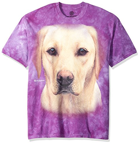 (The Mountain Yellow Lab Portrait Adult T-Shirt, Purple,)