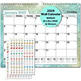 "Large Wall Calendar 2019 Monthly: Hanging Calendar with Planner Stickers for Family and Office, 15x12"" Twin Wirebond (Colorful), USE Now - October 2018 to December 2019, Calendars by Cranbury"