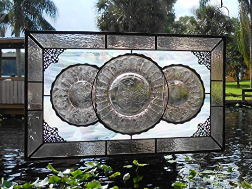 Stained Glass Window Valance, 1930s Jeannette Floral Depression Glass Plates, Stained Glass Transom Window, Original Stained Glass Window Art, OOAK