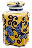 Benzara Floral Designed Yellow Jar with Lid Decorative