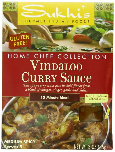 (Sukhi's Gluten-Free Vindaloo Curry Sauce, 3-Ounce Packets  (Pack of 6))