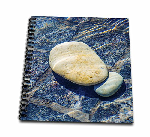 3dRose Alexis Photography - Objects - Two white pebbles under the water surface. Puddle of clean water - Drawing Book 8 x 8 inch (db_270828_1)