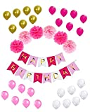 Happy Birthday Banner Decoration Set – Perfect Complete Party Supplies Kit, Pastel Light Baby Pink, Hot Pink, White Gold Foiled Bunting Flag Garland with Paper Pom Poms and Matching Balloons