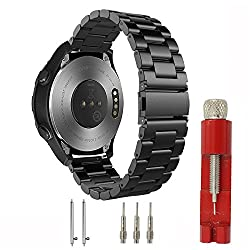 Huawei Watch 2 Sports Band, Cbin 20mm Solid Stainless Steel Metal Business Replacement Bracelet Strap For Huawei Watch 2 Sports Model Smartwatch (Metal Black)