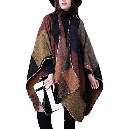 Maglione Cachemire Donna Scialle Color1 JLTPH Cardigan Invernale Cappotto Capes a Reversibile Poncho Donna Lavorato Maglia Inverno Poncho da AwZR1CqA