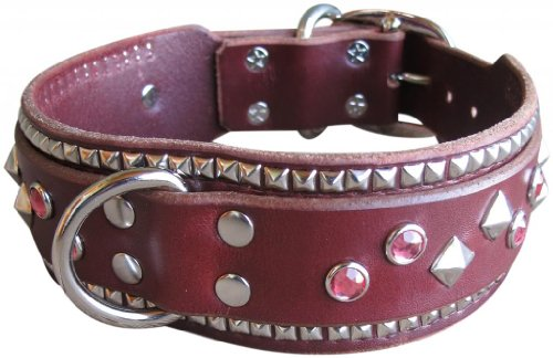 "Paco Collars - ""Booker Deluxe"" - Exclusive Handmade Leather Giant Dog Collar - 2""Wide - Silver - Black 24""-26"""