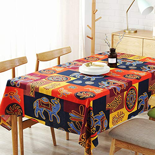 AMZALI Vintage Mayan Culture Printed Pattern Decorative Macrame Lace Tablecloth Washable Dinner Picnic Cotton Linen Fabric Decorative Table Top Cover (55 Inch x 71 Inch)