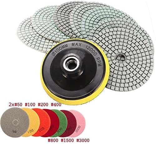 Yolopay - 8pcs 4 inch Diamond Polishing Pads Wet/Dry Granite Concrete Marble Sanding Disc Set with Backer Pad