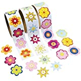 """Fun Express 3 Roll Flower Stickers (300 Piece), 1.5"""""""